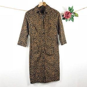 [EXPRESS] Cheetah/Leopard Print Button Up Dress